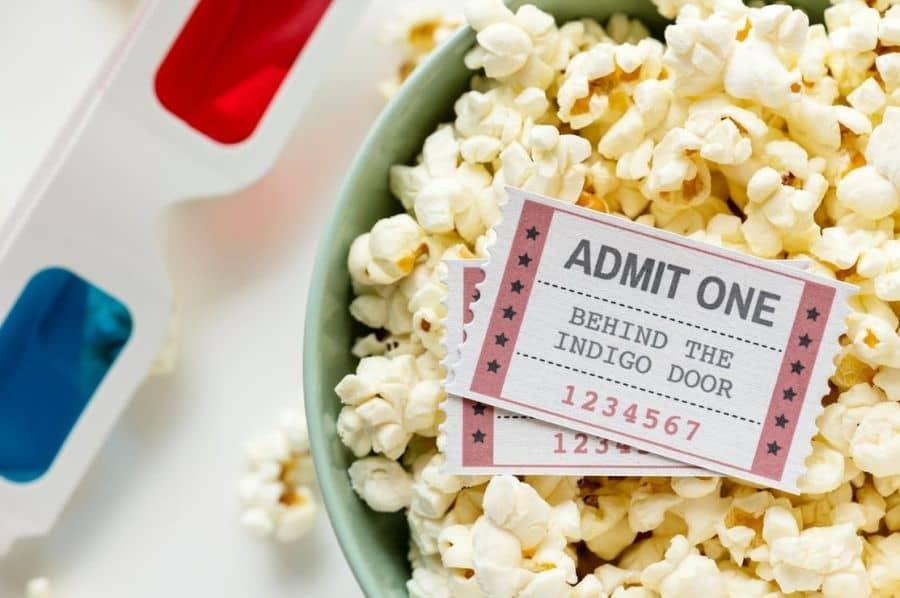 popcorn bilety do kina i okulary 3d