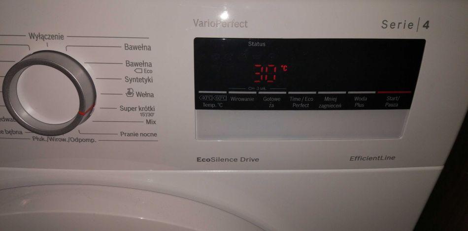 opcja swobodnej regulacji temperatury prania w pralce Bosch