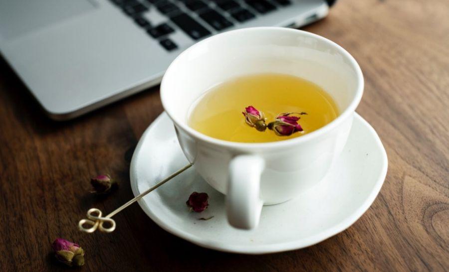 biała herbata w białej filiżance