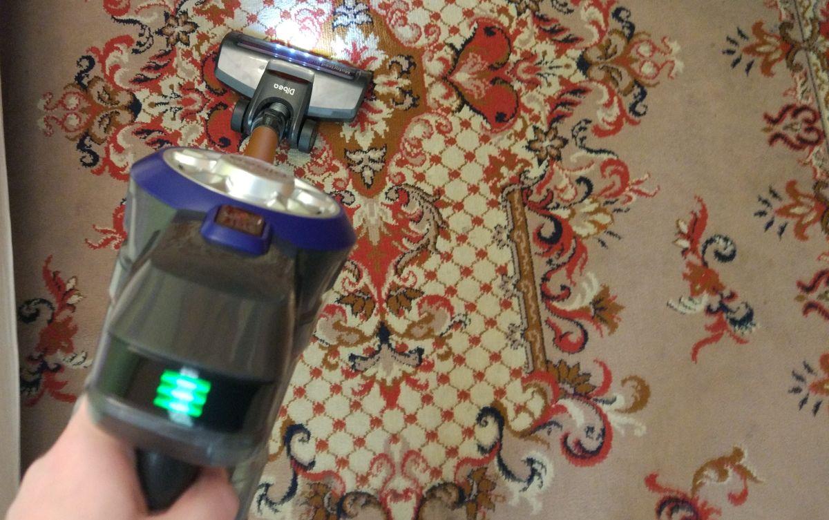 Dibea V008 Pro odkurzanie pierwszego dywanu