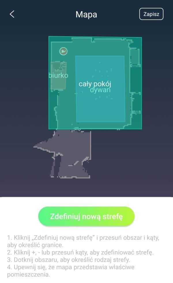 Moneual MBOT 950 mapa czyszczenia pokoju z dodatkowymi strefami