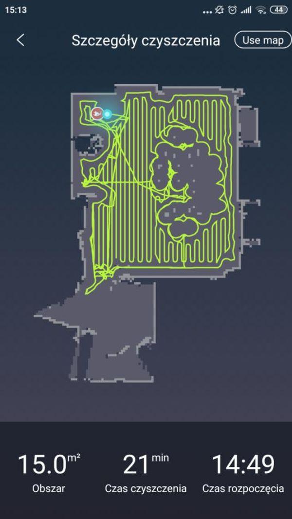 Moneual MBOT 950 mapka z aplikacji po 1 przejeździe