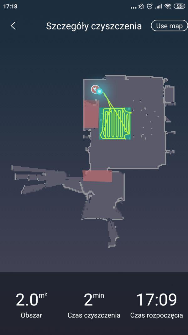 Moneual MBOT 950 mapka z aplikacja po 2 przejeździe