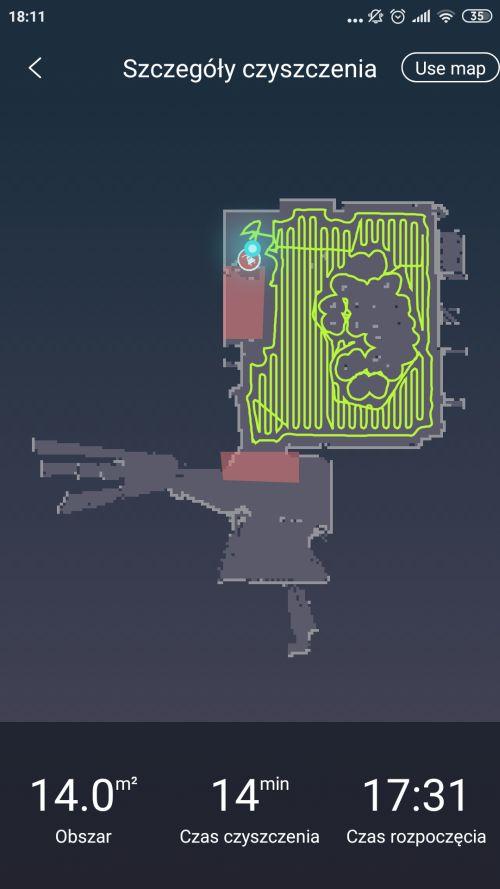 Moneual MBOT 950 mapka z aplikacji po 3 przejeździe