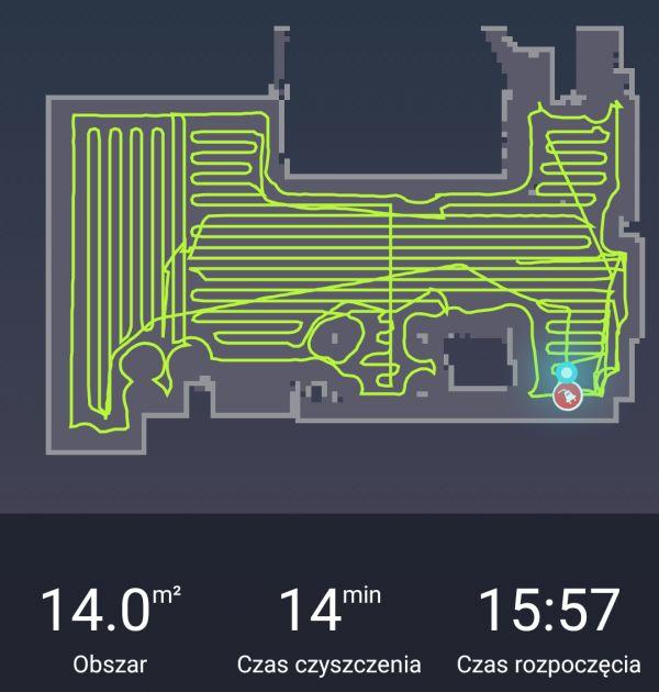 Przykładowa trasa sprzątania robota Moneual MBOT 950 na mapie w aplikacji