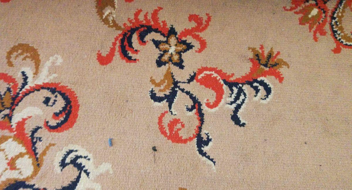 drugi zaśmiecony dywan przed testem odkurzania Philips XC8147/01