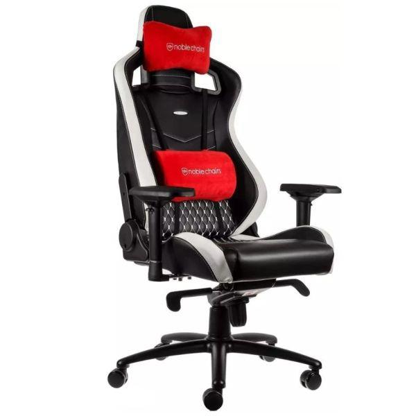 noblechairs EPIC gaming (skóra naturalna) czarno-biało-czerwony