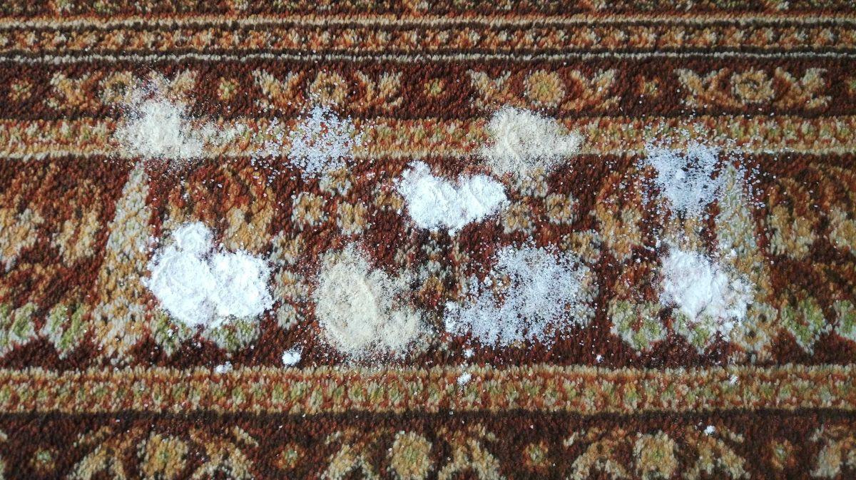 cukier, mąka i bułka tarta rozsypane na dywanie przed testem Philips XC8147/01