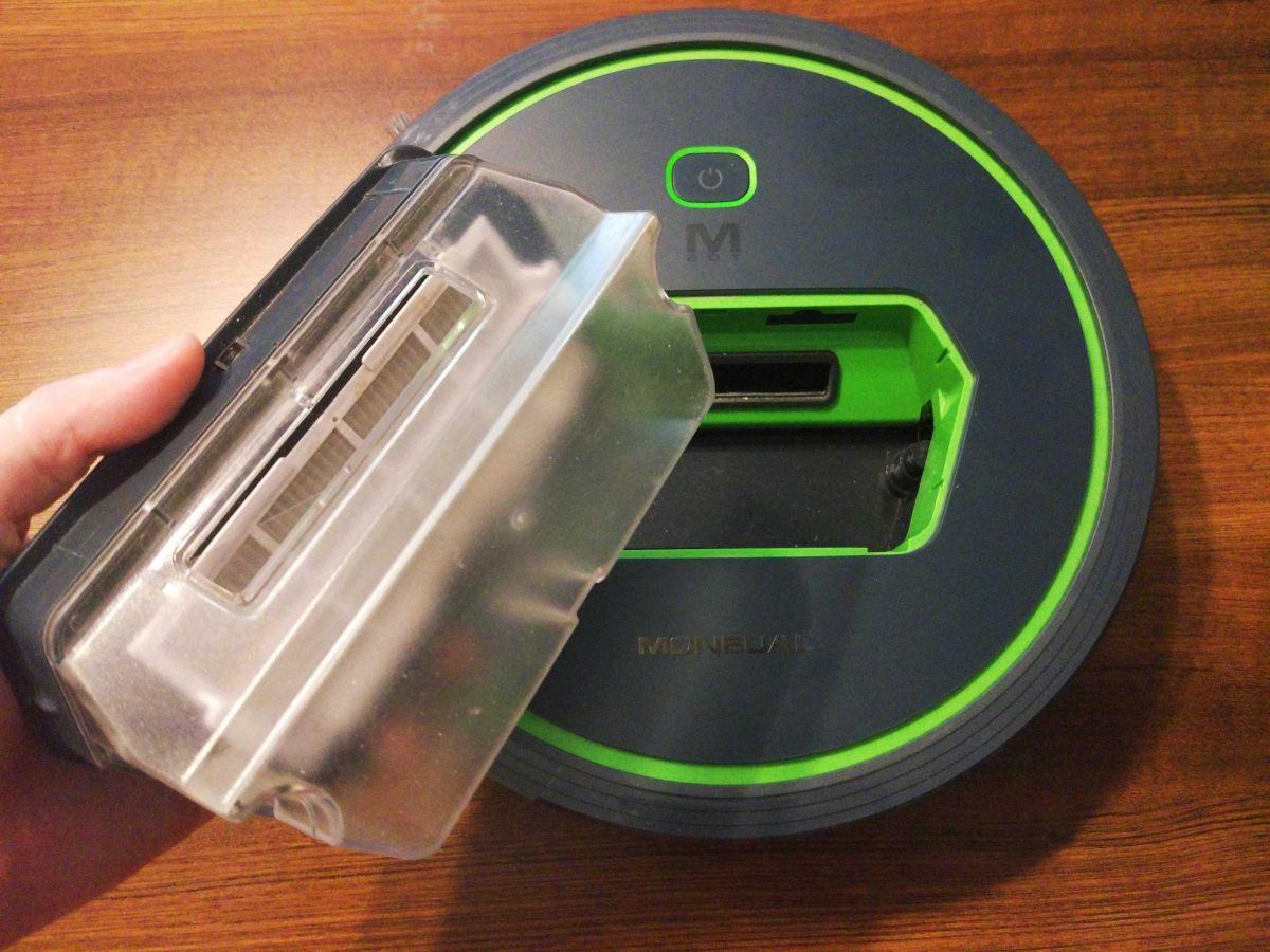 Moneual MBOT 500 wyjęty pojemnik na śmieci