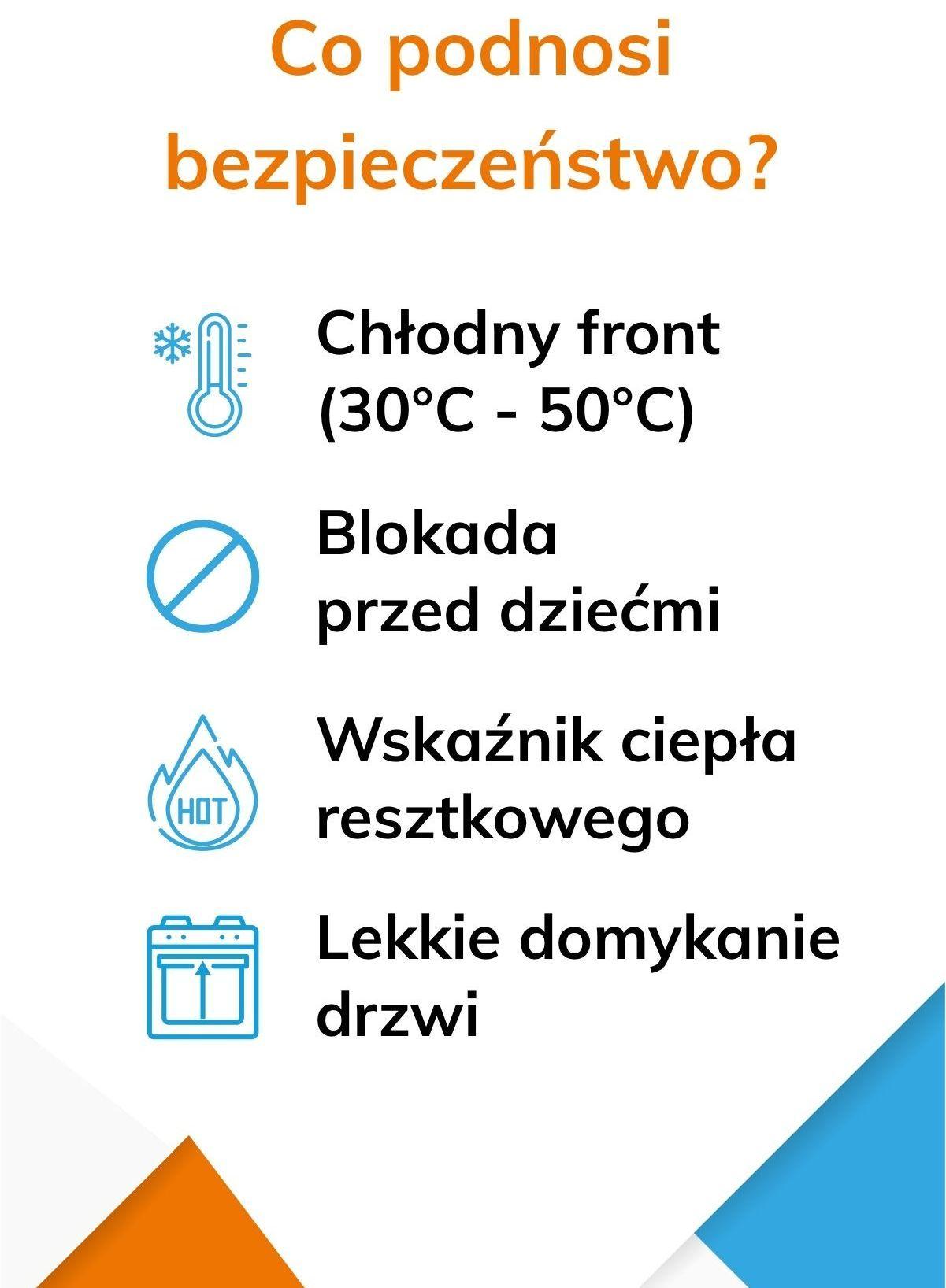 Funkcje poprawiające bezpieczeństwo użytkowania piekarnika - infografika