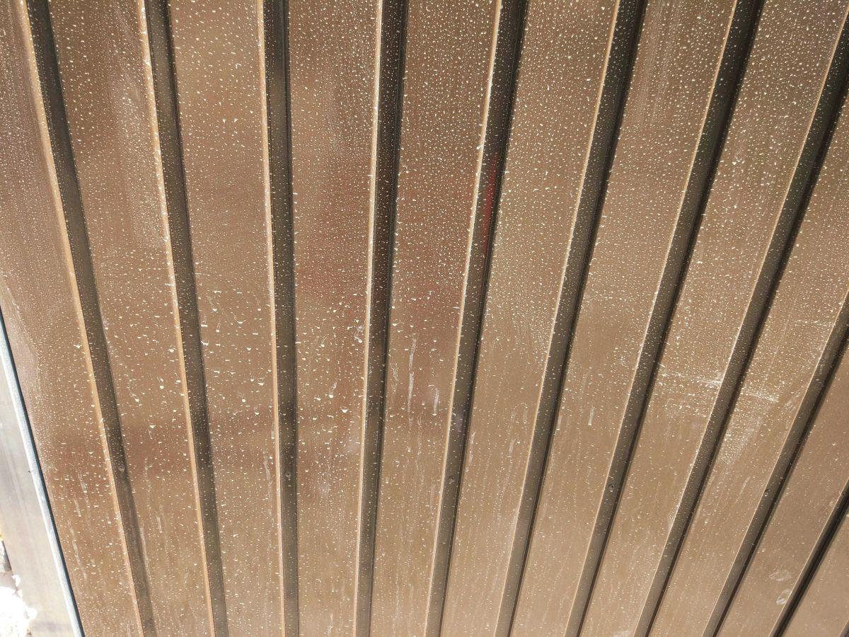 Brudna brama garażowa przed testem mycia ręcznego Moneual RS700 Plus 3