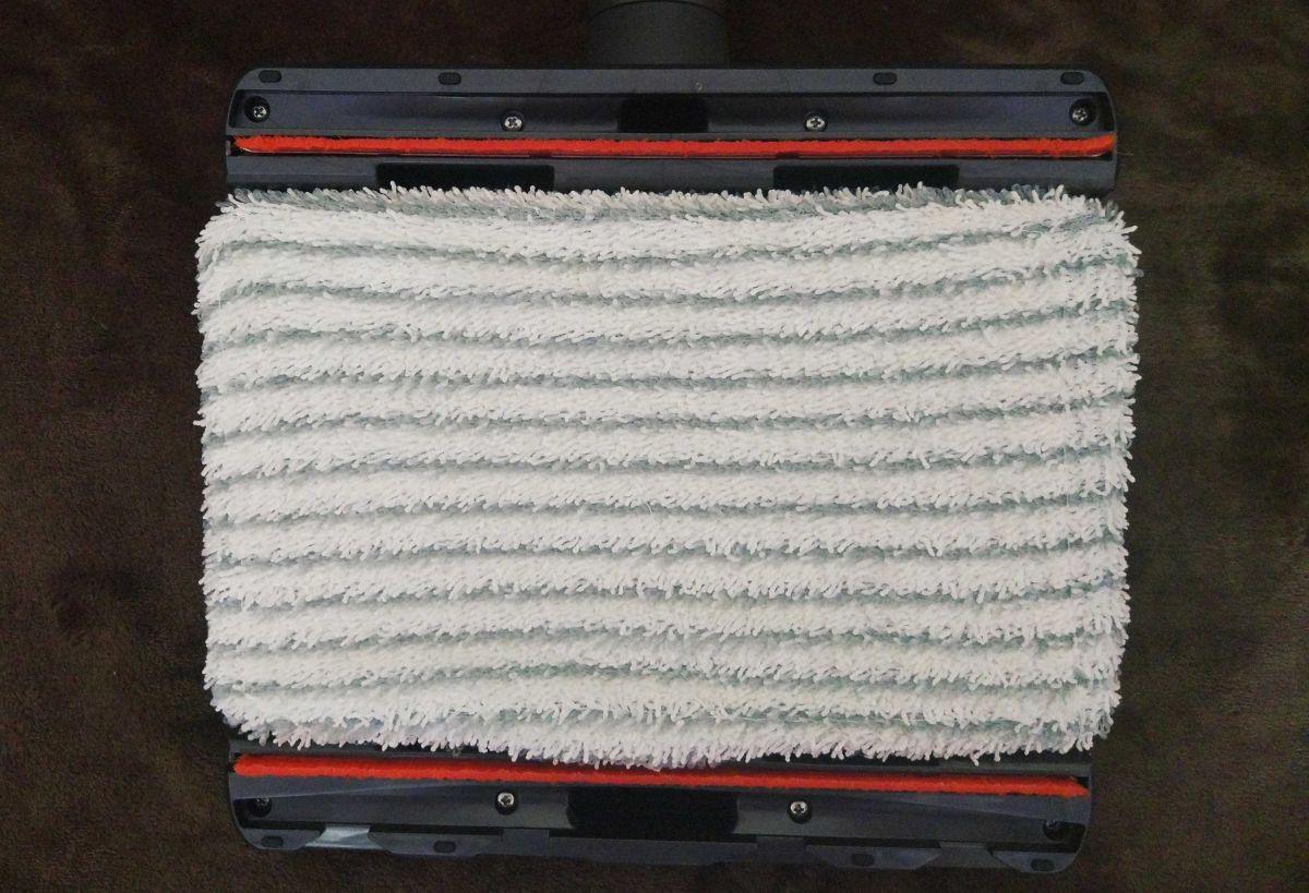 Tefal TY9490 spód nasadki aqua i zamontowana ściereczka do mycia podłóg