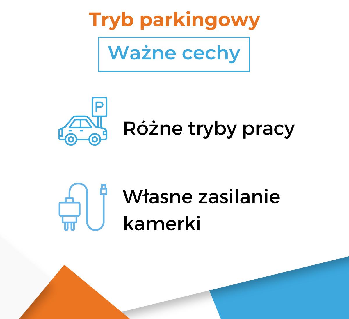 Ważne cechy trybu parkingowego w kamerkach samochodowych - infografika