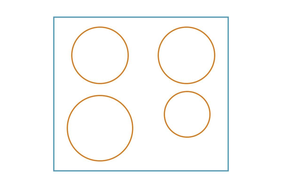 Układ pól grzejnych płyty indukcyjnej - grafika, rysunek z przykładem 4