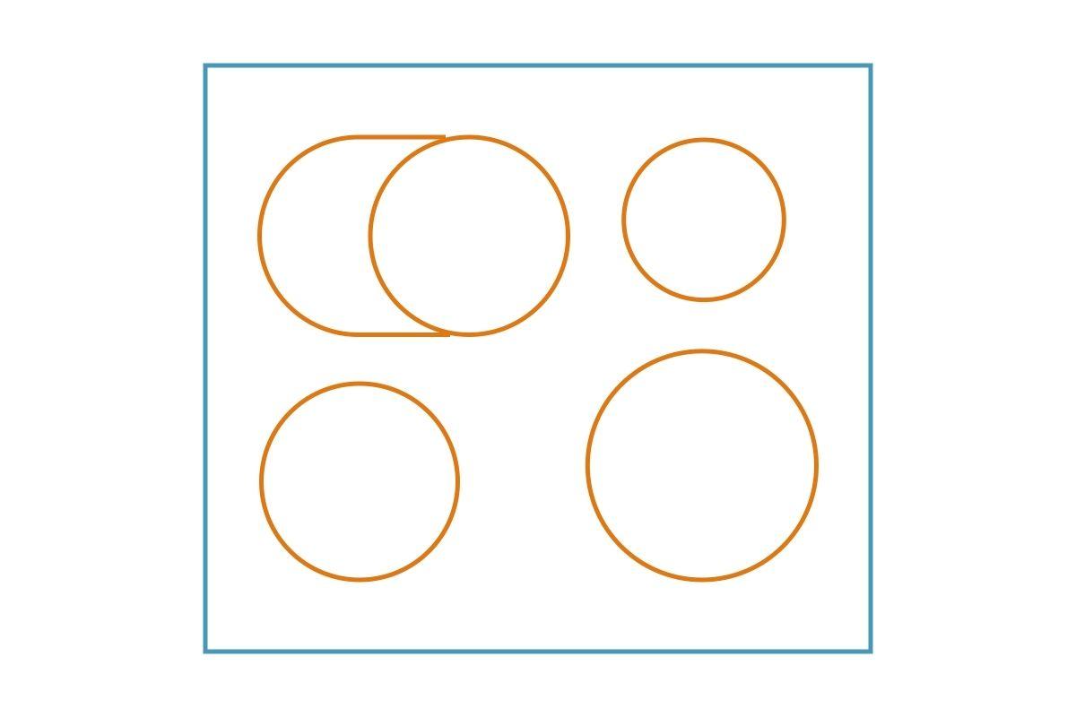 Układ pól grzejnych płyty indukcyjnej - grafika, rysunek z przykładem 5