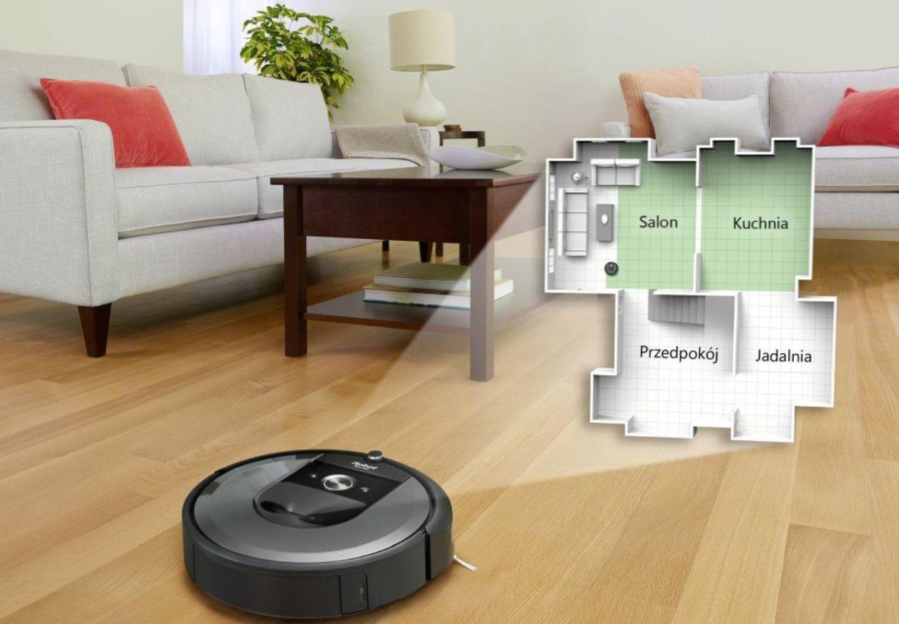 robot sprzątający iRobot Roomba i7+ tworzenie układu pomieszczeń na mapie piętra domu