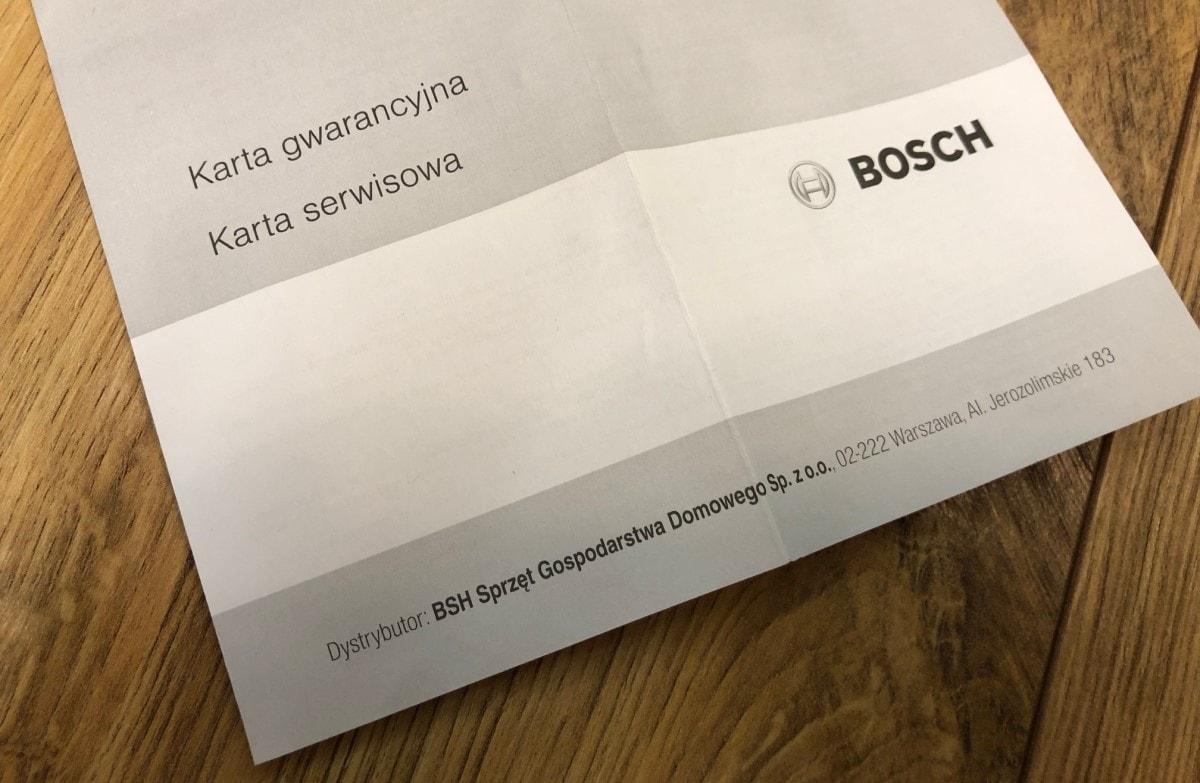 Bosch ErgoMixx MFQ 36400 karta gwarancyjna z zestawu