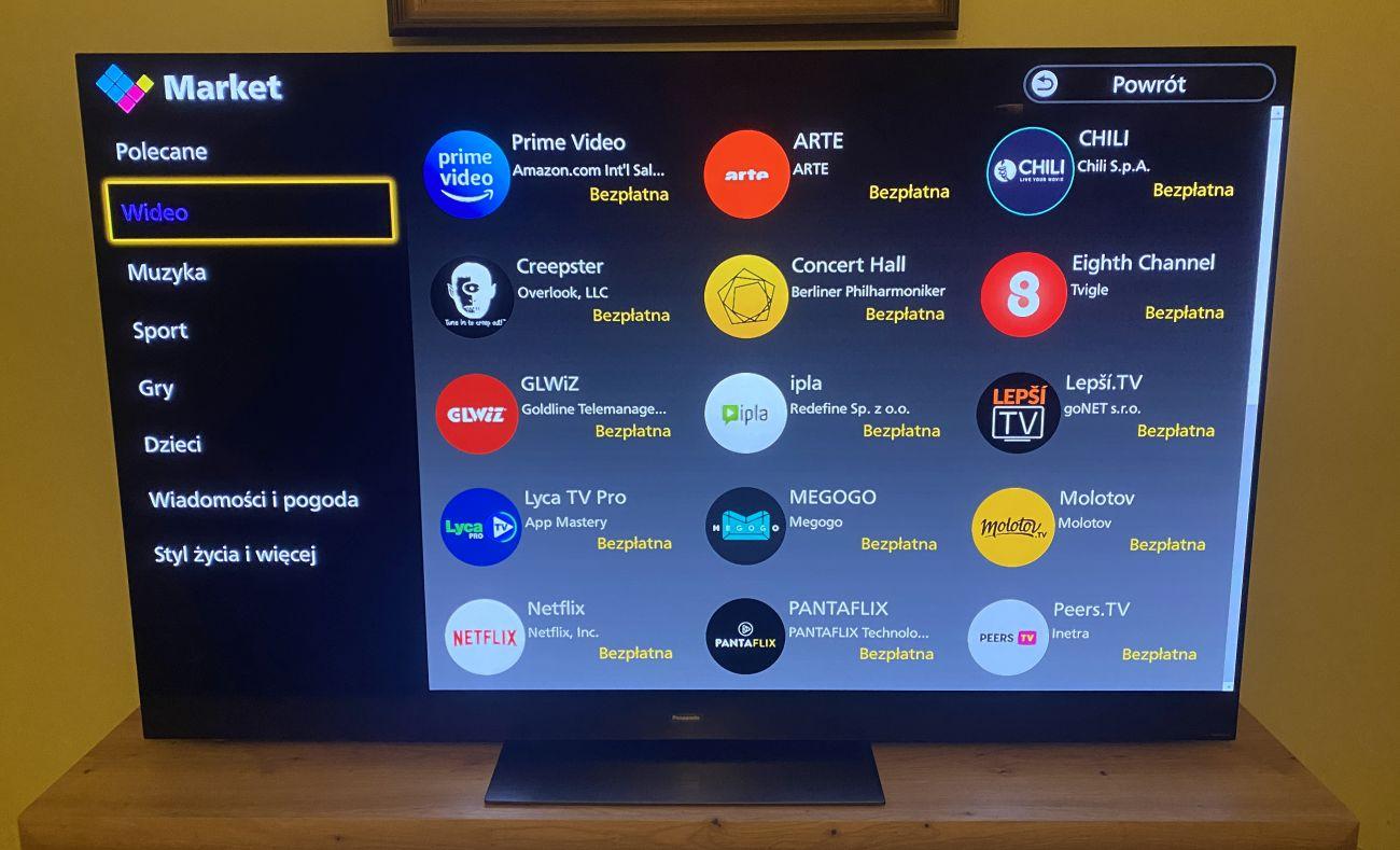 Panasonic TX-65HZ2000E dodatkowe aplikacje Smart TV możliwe do ściągnięcia