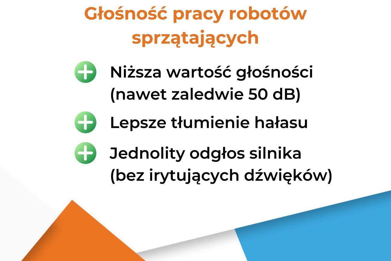 Głośność pracy robotów sprzątających cechy - infografika