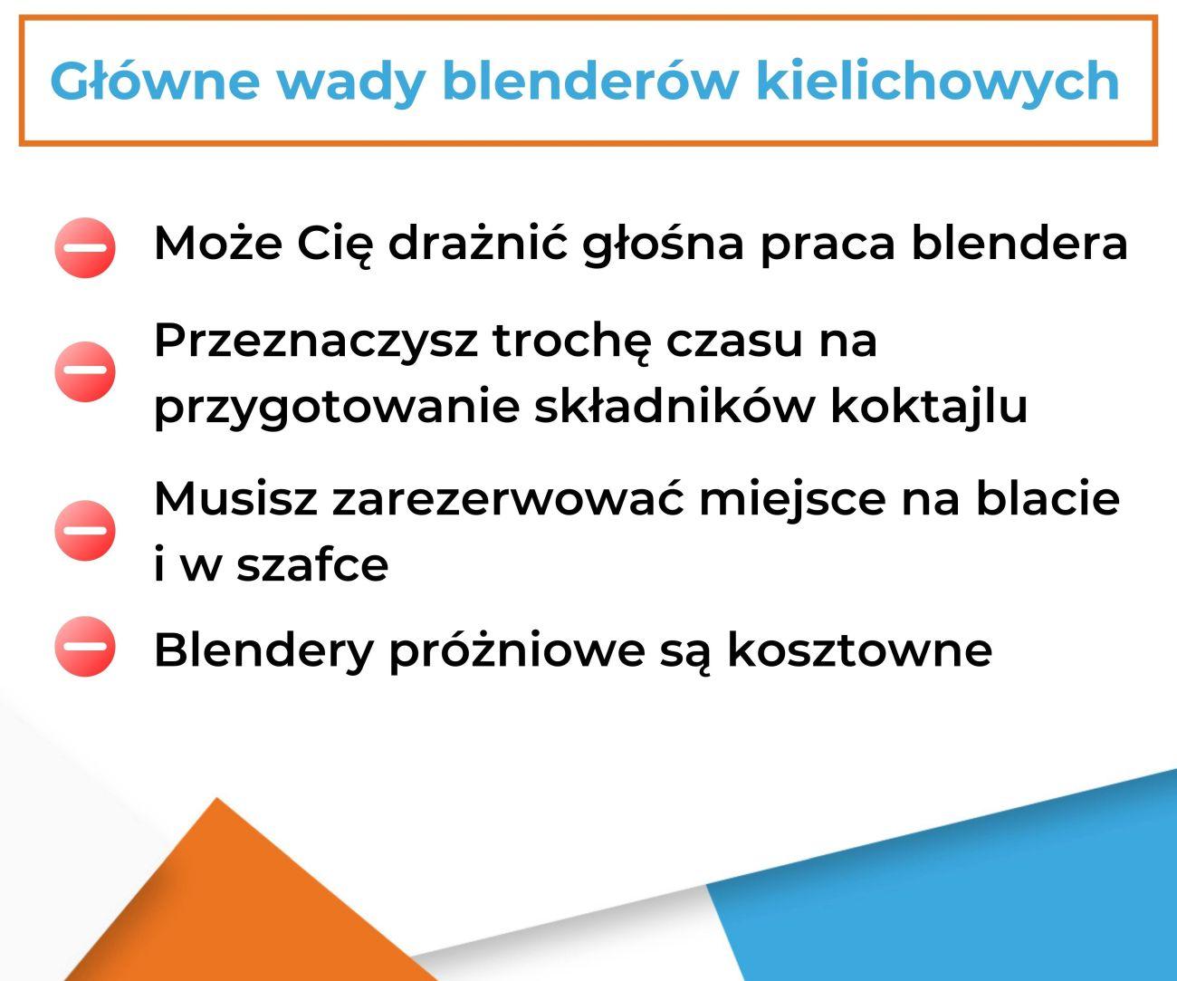 Główne wady blenderów kielichowych - Infografika