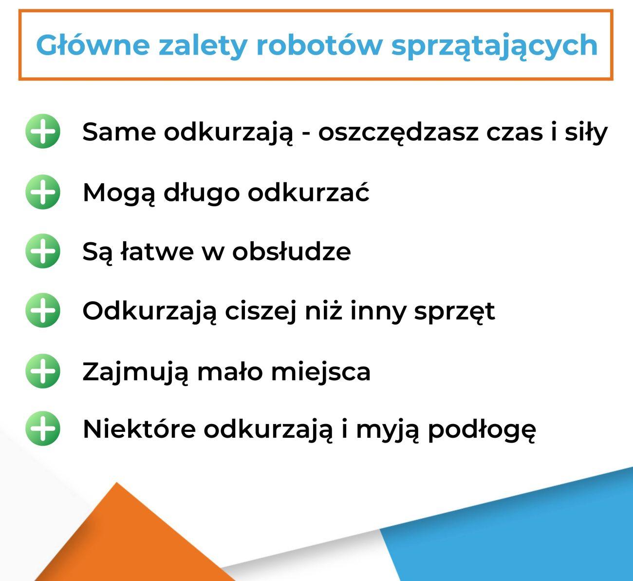 Główne zalety robotów sprzątających - infografika
