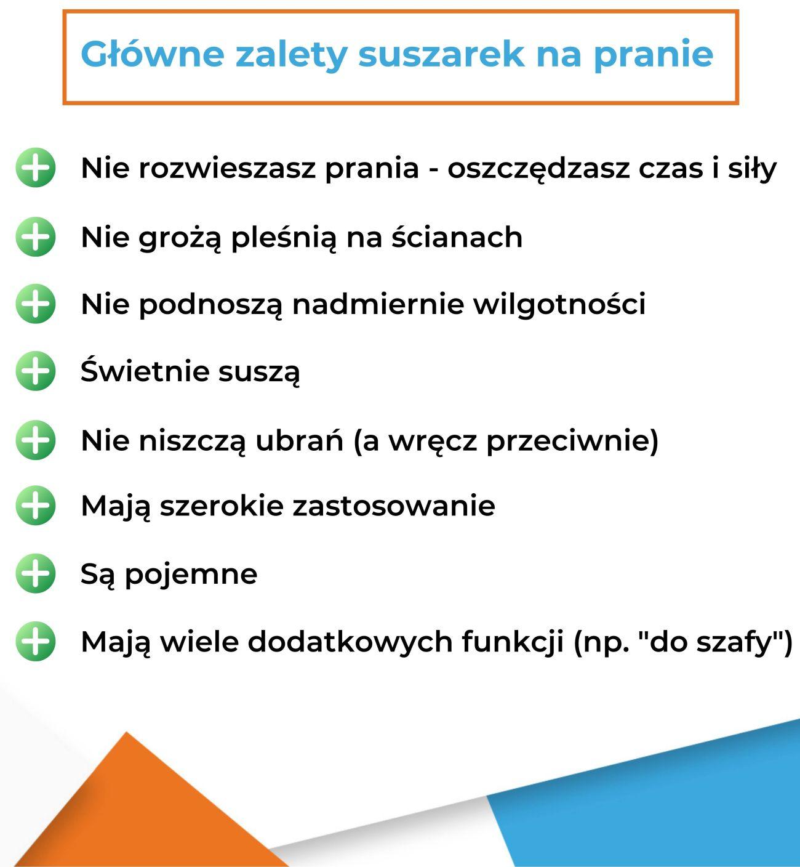 Główne zalety suszarek na pranie - infografika