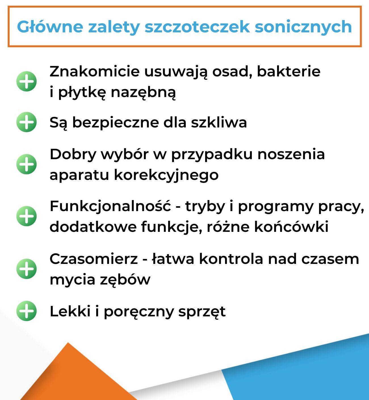 Główne zalety szczoteczek sonicznych - Infografika