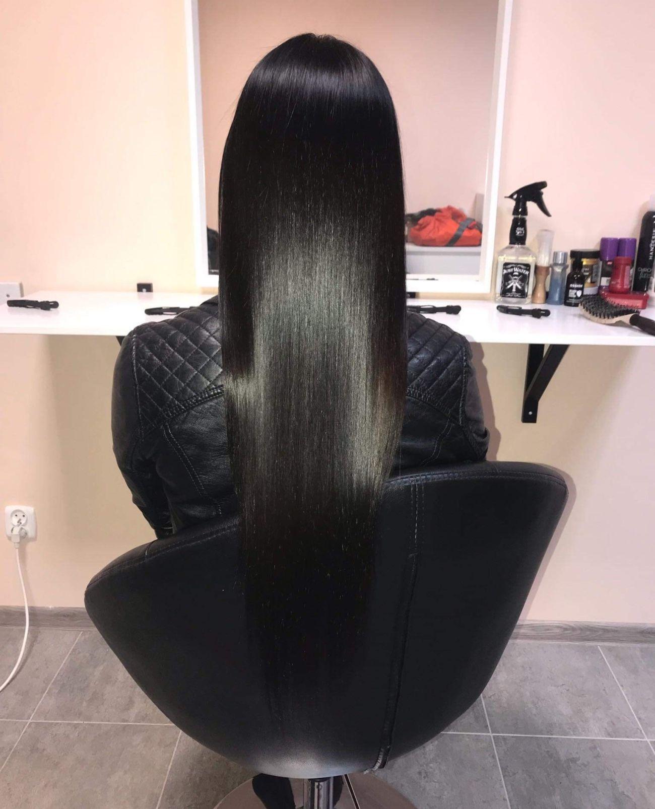 Włosy tuż po zabiegu keratynowego prostowania