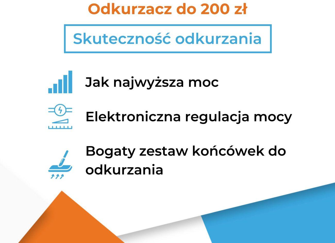 Odkurzacz do 200 zł a cechy skuteczności odkurzania - cechy - Infografika