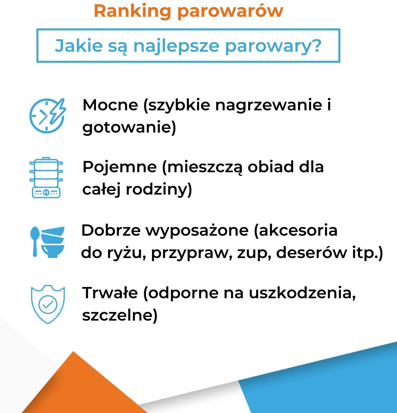 Ranking parowarów - Jakie cechy mają najlepsze parowary? Infografika