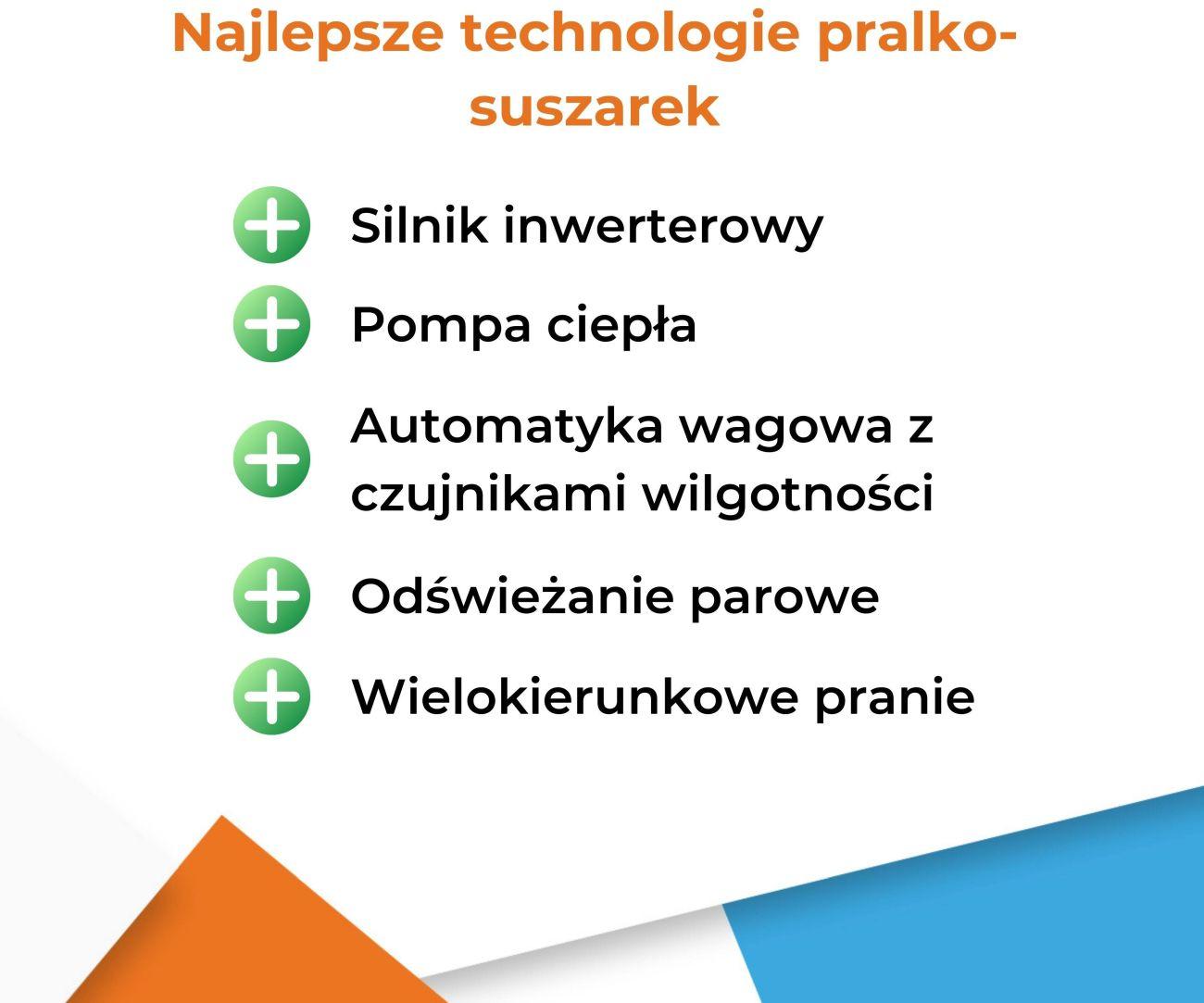 Najlepsze technologie pralko-suszarek - Infografika