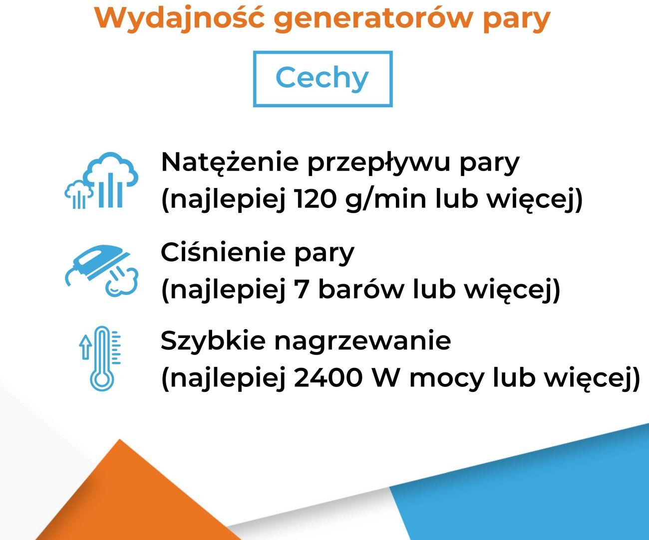 Cechy wpływające na wydajność generatorów pary - Infografika