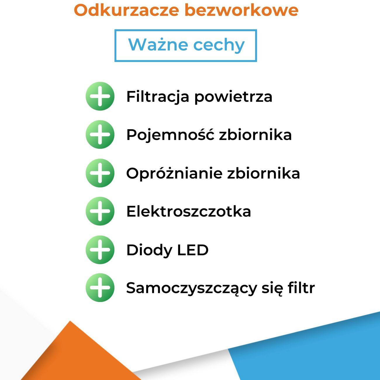Odkurzacz bezworkowy - lista ważnych cech - Infografika