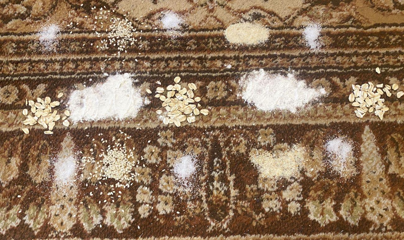 Produkty sypkie rozsypane na dywanie przed testem Tefal X-Force Flex 11.60 Aqua TY9890