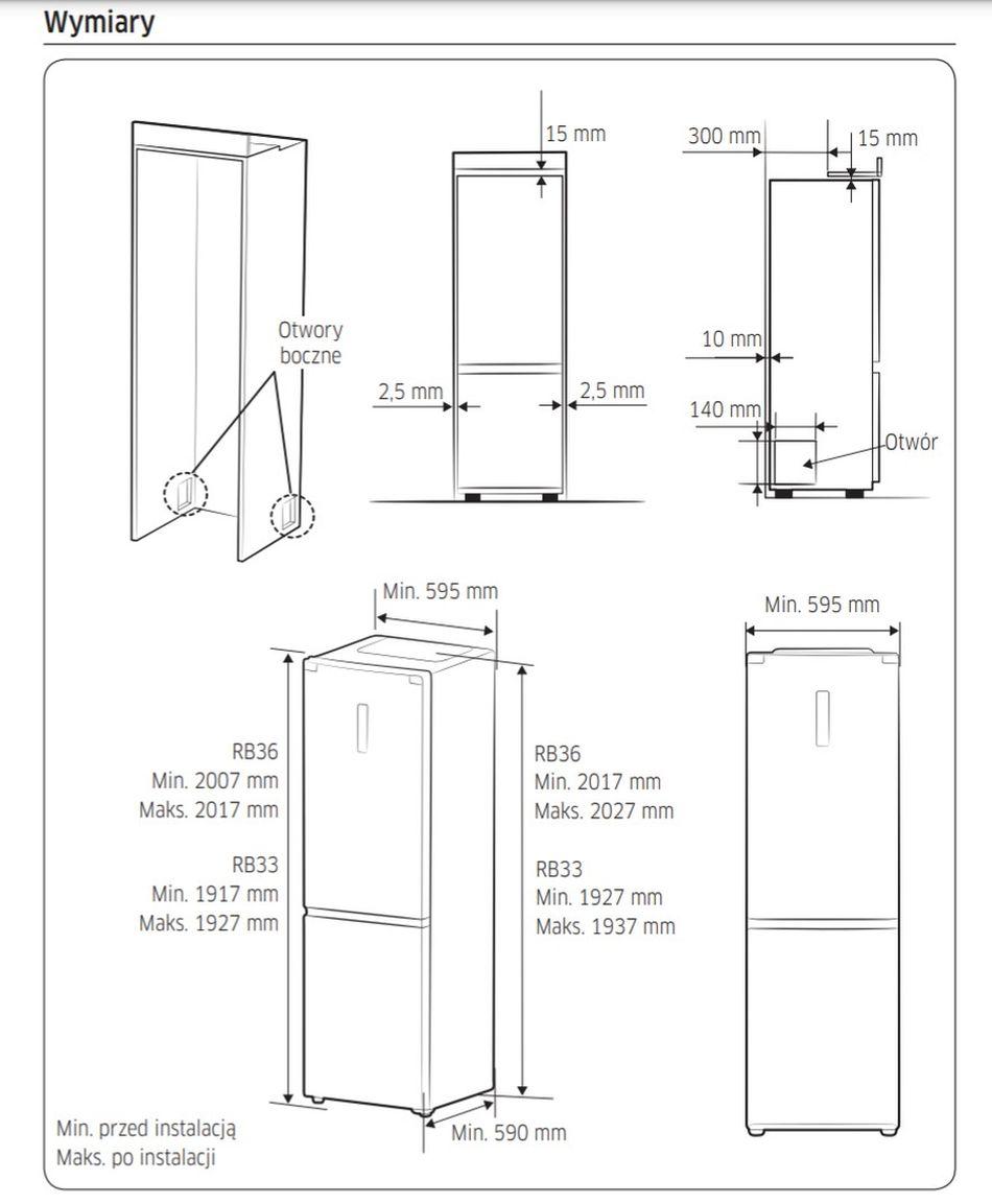 Warunki montażowe lodówek do obudowy Samsung Kitchen Fit