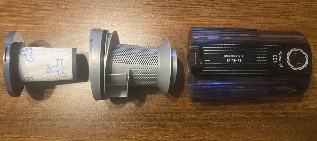 Tefal X-Force Flex 11.60 Aqua TY9890 rozmontowany pojemnik na śmieci i jego system filtracji
