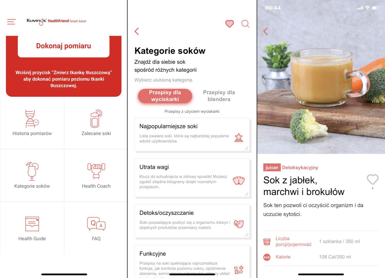 Aplikacja Kuvings Smart Juicer Global - widok opcji związanych z sokami i koktajlami