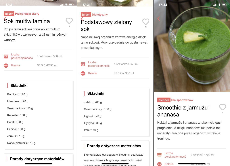 Aplikacja Kuvings Smart Juicer Global - widok opcji związanych z sokami i koktajlami 2