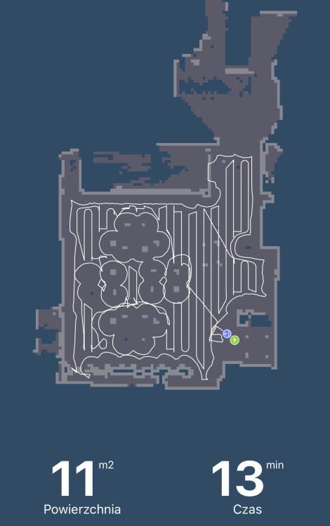 Tefal X-plorer Serie 75 RG7687 - mapa w aplikacji po teście odkurzania
