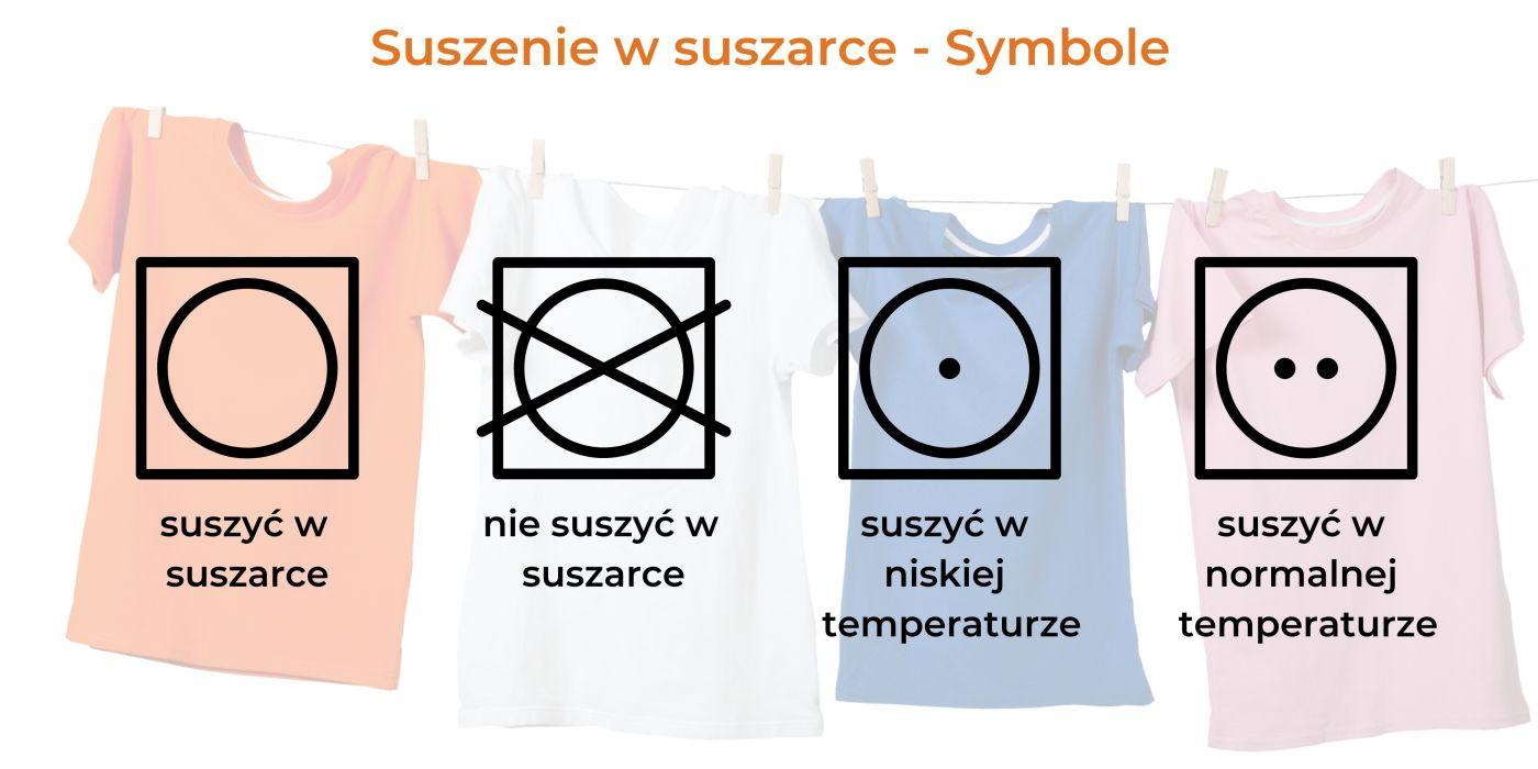 Symbole suszenia w automatycznej suszarce bębnowej do prania