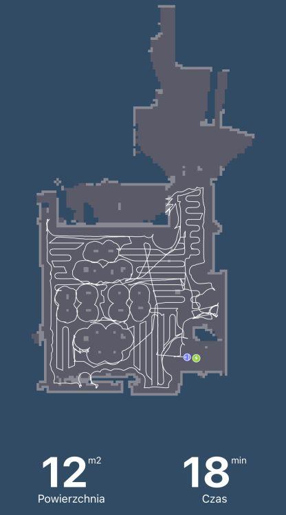 Mapa stworzona w aplikacja po pierwszym teście odkurzania Tefal X-plorer Serie 95 Animal RG7975