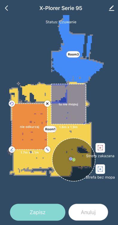 Tefal X-plorer Serie 95 Animal RG7975 wyznaczanie różnych stref na mapie