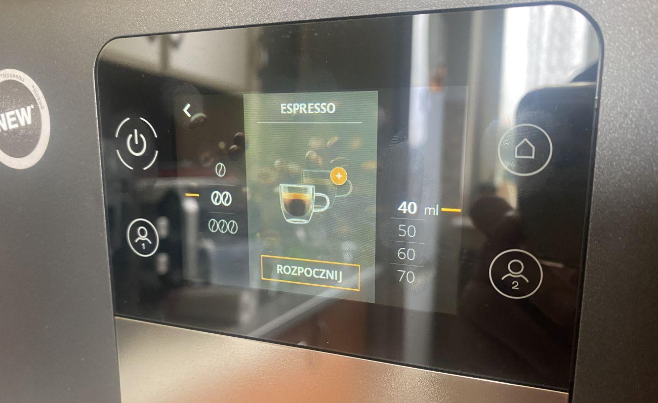 KRUPS Intuition Preference+ EA875U ustawienia kawy Espresso