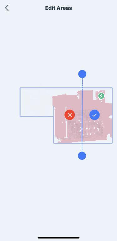 Edycja podziału mapy w aplikacja robota Ecovacs Deebot T9