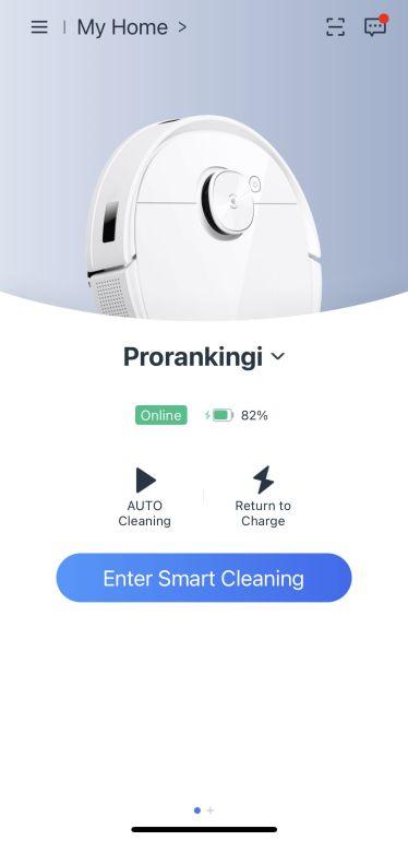 Interfejs główny aplikacji do robota Ecovacs Deebot T9