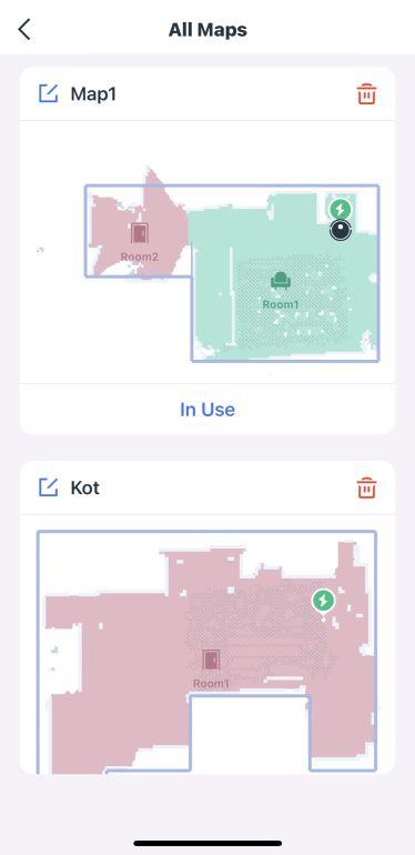 Lista wszystkich map w aplikacji mobilnej robota Ecovacs Deebot T9