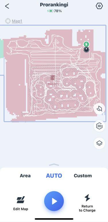 Mapa stworzona w aplikacji po pierwszym teście Ecovacs Deebot T9