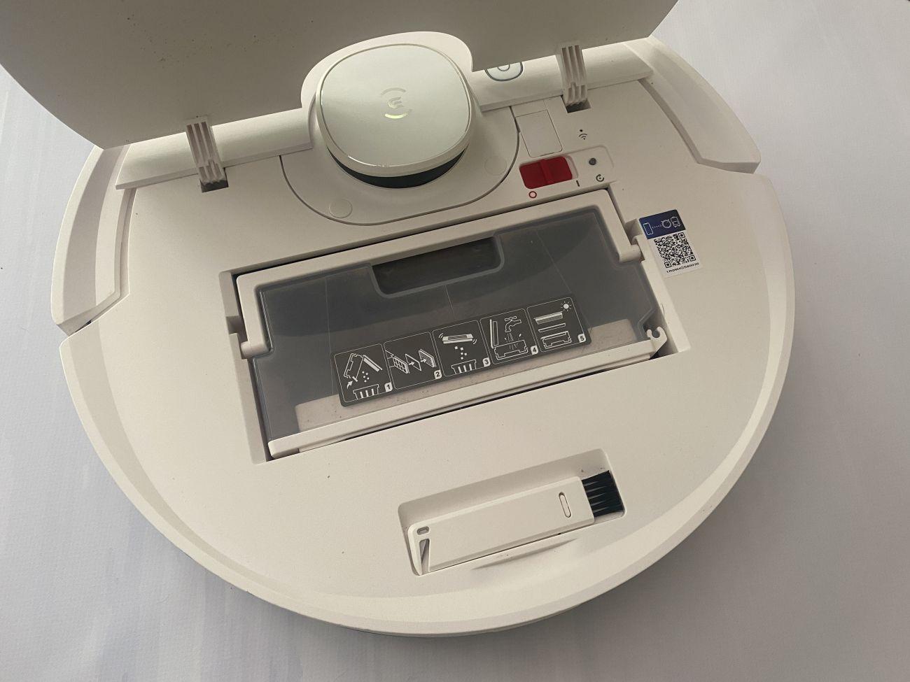 Ecovacs Deebot T9 otwarta klapa wierzchu robota sprzątającego