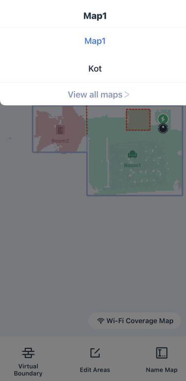 Opcja wyboru mapy w aplikacji mobilnej robota Ecovacs Deebot T9